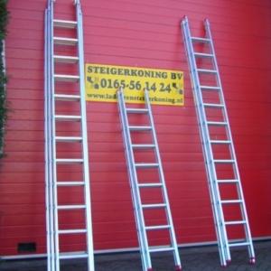 Aluminium ladder 2x16 sporten werkh. 8 meter
