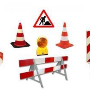 Verkeersborden werk in uitvoering